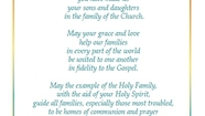 Prayer For The World Meeting Of Families 2015